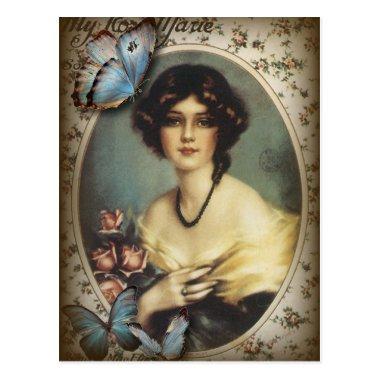 Posh Vintage Butterfly Paris Lady Fashion PostInvitations