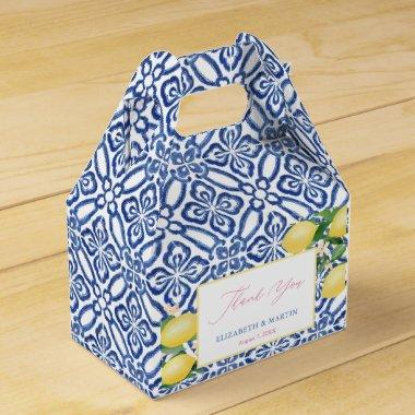 Positano Lemons Cobalt Blue White Pattern Wedding Favor Box