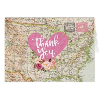 Post Map Travel Thank You Folded Note