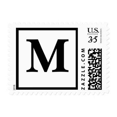 Post Monogram Letter M Save Date RSVP Invites Postage