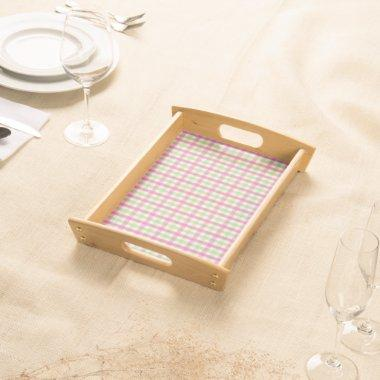 Preppy Pink and Green Plaid Serving Tray