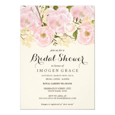 Pretty Blush Pink Floral Bridal Shower Invitations