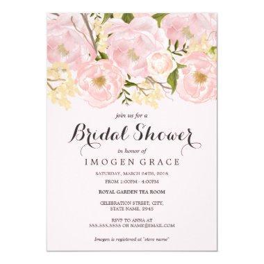Pretty Blush Pink Floral  Invite