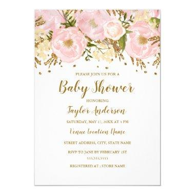 Pretty Blush Pink Gold Floral Baby Shower