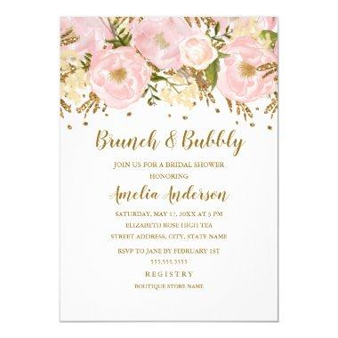 Pretty Blush Pink Gold Floral Brunch And Bubbly