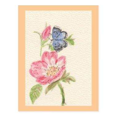 Pretty butterfly on pink flower postInvitations