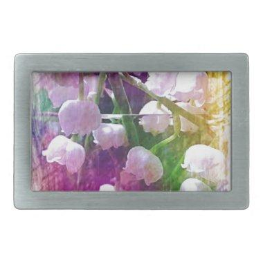 Pretty Colorful Lily of The Valley Botanical Rectangular Belt Buckle