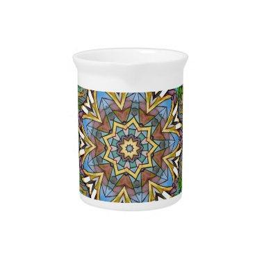 Pretty Cool Pastel Artistic Stained Glass Beverage Pitcher