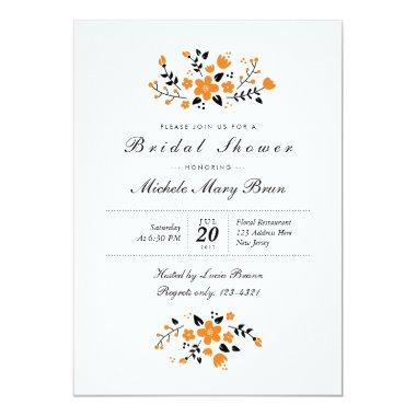 Pretty Floral Orange Stylish  Invite