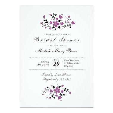 Pretty Floral Stylish  Invite Purple