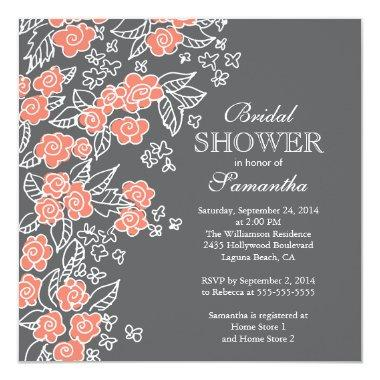 Pretty Flowers Modern Gray & Coral Bridal Shower Invitations