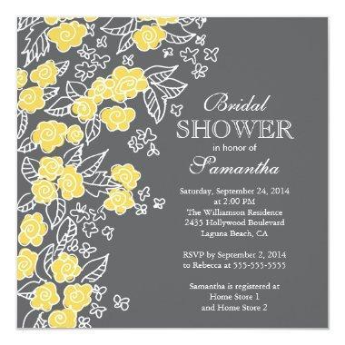 Pretty Flowers Modern Gray & Yellow Bridal Shower Invitations