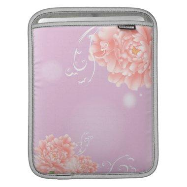 pretty girly spring watercolor floral pink peony sleeve for iPads