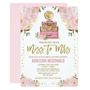 Pretty Pink Gold Travel Adventure Bridal Shower Invitations