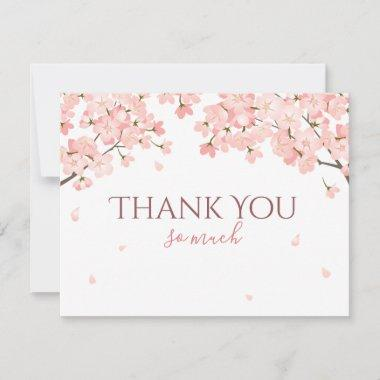 Pretty Pink Spring Sakura Japanese Cherry Blossoms Thank You Invitations
