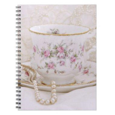 Pretty Pink Vintage Tea Cup Bridal Shower Notebook