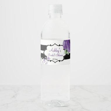Pretty Purple Roses and Stripes Water Bottle Label