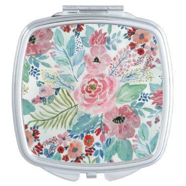 Pretty watercolor hand paint floral artwork makeup mirror