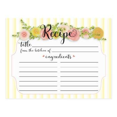 Pretty Yellow Stripes with Roses Recipe Invitations
