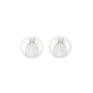 Princess Bridal Gown White Gray Bride Wedding Gift Earrings