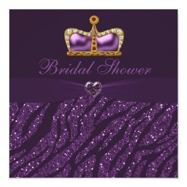 Princess Crown Heart & Zebra Glitter