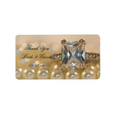 Princess Diamond Ring and Pearls Wedding Thank You Label