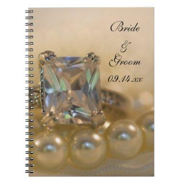 Princess Diamond Ring and White Pearls Wedding Notebook