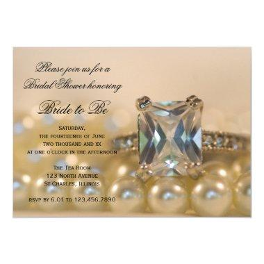 Princess Diamond Rings and Pearls Bridal Shower Invitations