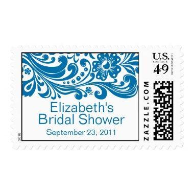Print Floral Swirl Damask  Stamp Blue