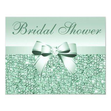 Printed Green Sequins, Bow & Diamond