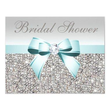 Printed Silver Sequin Teal Bow Image Bridal Shower Invitations