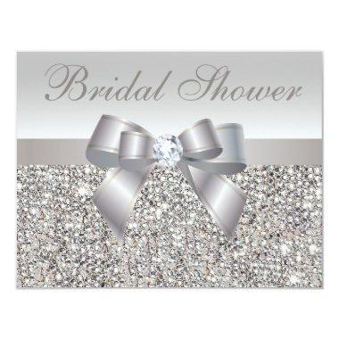 Printed Silver Sequins Bow & Diamond Bridal Shower Invitations