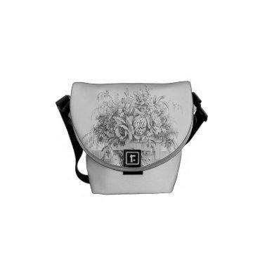 Pristine roses on white messenger bag