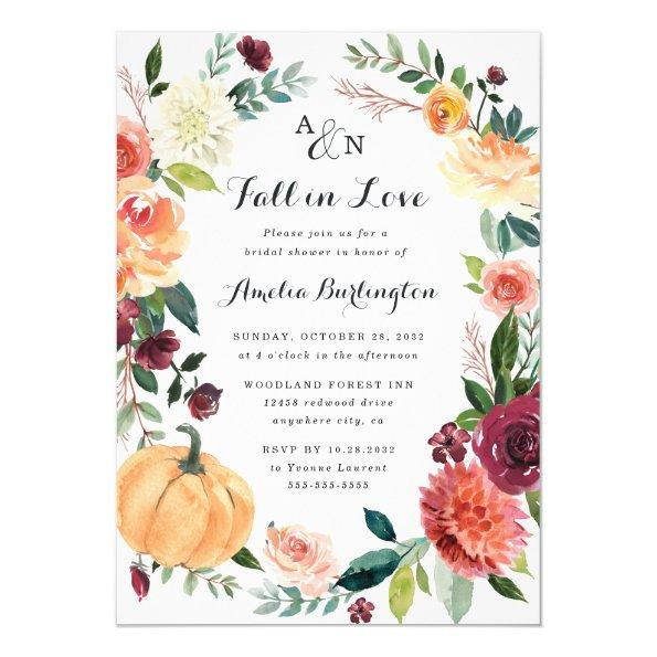 Pumpkin Fall in Love Autumn Floral Bridal Shower Invitations