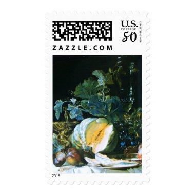 PUMPKIN ,FRUITS AND GLASSWARE Thanksgiving Dinner Postage