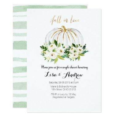 Pumpkin Greenery Fall in Love Couples Shower Invitations
