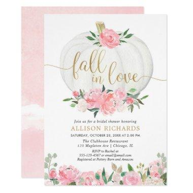 Pumpkin pink gold fall in love bridal shower Invitations