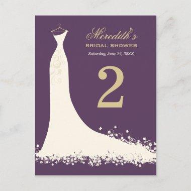 Purple and Gold | Bridal Shower Table Number Card