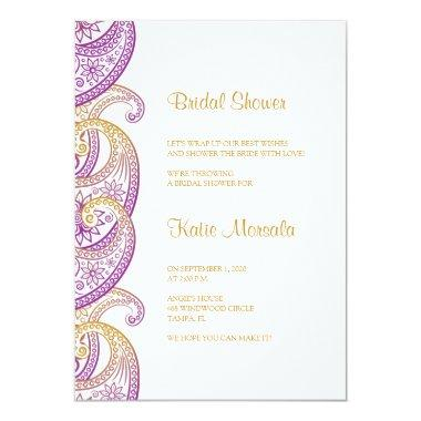 Purple and Gold Indian Paisley Bridal Shower Invitations
