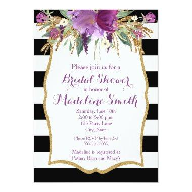 Purple and Gold Watercolor Flowers Bridal Shower Invitations