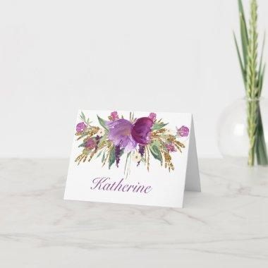 Purple and Gold Watercolor Flowers NoteInvitations