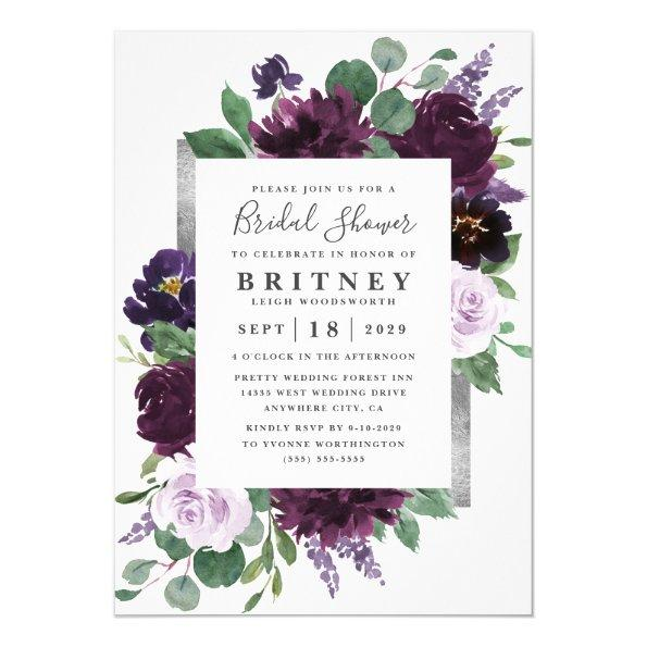 Purple and Gray Silver Watercolor Bridal Shower Invitations