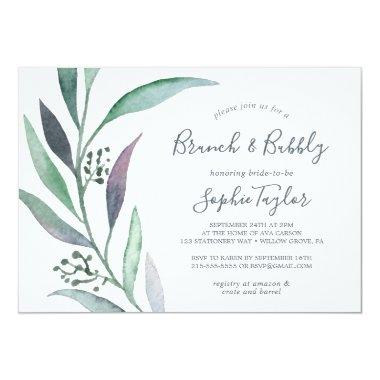 Purple and Green Eucalyptus Brunch and Bubbly Invitations