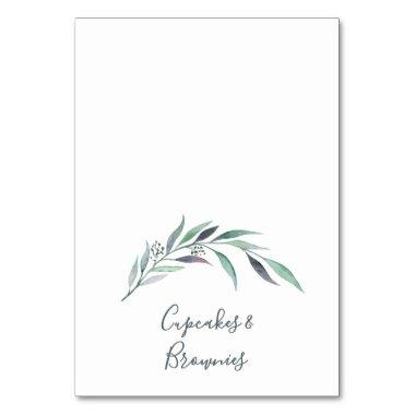 Purple and Green Eucalyptus Buffet Food Labels Table Number