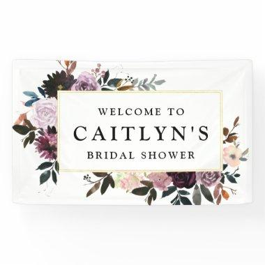 Purple and Pink Floral Bridal Shower Welcome Banner