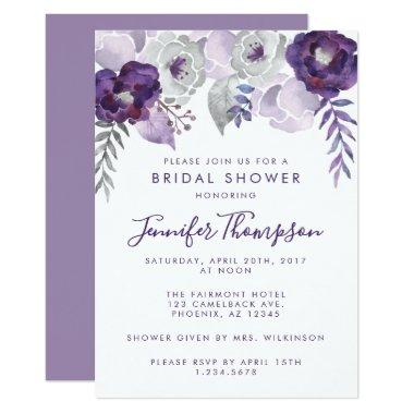 eca32ee48466a2 Purple and Silver Watercolor Floral Bridal Shower Invitations