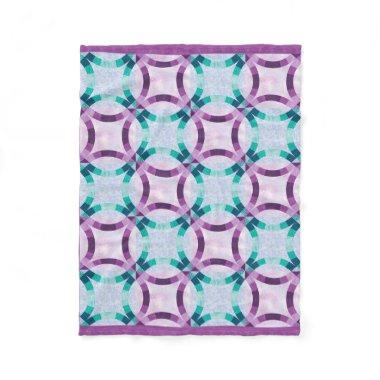 Purple and Teal Wedding Ring Quilt Design Fleece Blanket