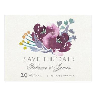 PURPLE, AQUA BLUE WATERCOLOUR FLORAL Save the date Post