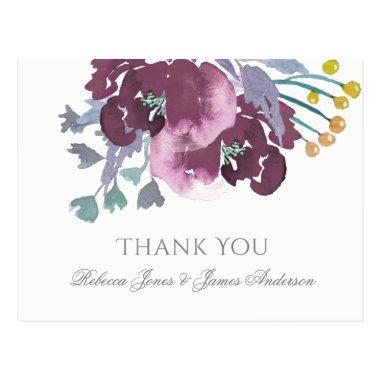 PURPLE, AQUA BLUE WATERCOLOUR FLORAL THANK YOU POST