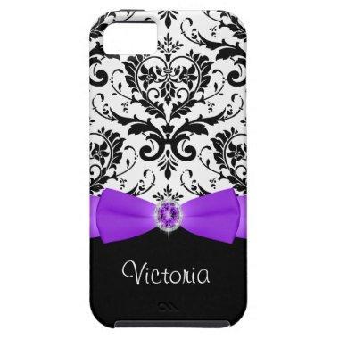 Purple Black White Damask Tough iPhone 5 Case